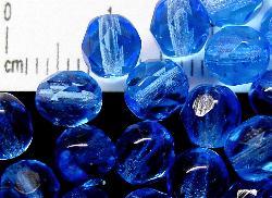 Best.Nr.:42118 facettierte Glasperlen blau transap., B-Sortierung, hergestellt in Gablonz / Tschechien