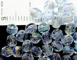 Best.Nr.:28045 facettierte Glasperlen aqua hell mit AB, hergestellt in Gablonz / Tschechien