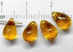 Best.Nr.:55021 Glasperlen Tropfen  topas transp., hergestellt in Gablonz / Tschechien