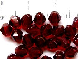 Best.Nr.:27217 Glasperlen facettiert biconen granatrot transp.,  hergestellt in Gablonz / Tschechien