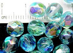 Best.Nr.:28186 facettierte Glasperlen türkis mit AB, hergestellt in Gablonz / Böhmen