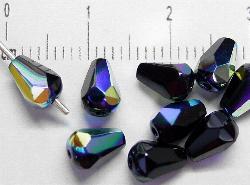 Best.Nr.:28196 facettierte Glasperlen Tropfen  schwarz mit AB, hergestellt in Gablonz / Tschechien