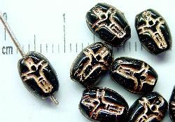 Best.Nr.:46096 Glasperlen Olive flach schwarz mit Goldprägung (Jesus am Kreuz)