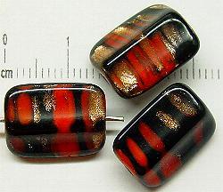 Best.Nr.:63036 Glasperlen in den 1920/30 Jahren in Gablonz/Böhmen hergestellt schwarz rot mit Aventurin