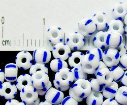Best.Nr.:13023 Rocailles von Preciosa Ornella,    weiß blau gestreift