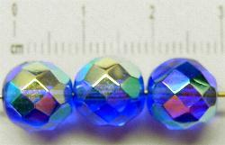 Best.Nr.:28198 facettierte Glasperlen blau mit AB