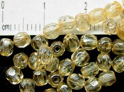 Best.Nr.:23027 facettierte Glasperlen  champagner mit lüster, hergestellt in Gablonz / Tschechien