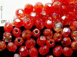 Best.Nr.:23026 facettierte Glasperlen rot kristall mit lüster (Zweifarbenglas), hergestellt in Gablonz / Tschechien