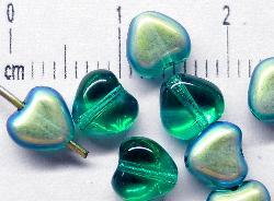 Best.Nr.:56059 Glasperlen Herzen smaragdgrün mit AB