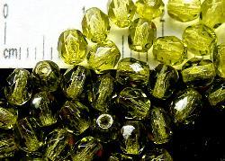 Best.Nr.:24018 facettierte Glasperlen  mit Wachsüberzug oliv