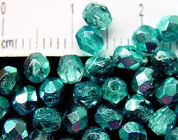 Best.Nr.:24028 facettierte Glasperlen mit Silber Veredelung und Wachsüberzug