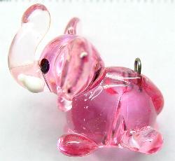 Best.Nr.:34070 handgefertigter Glasanhänger mit Öse Elefant
