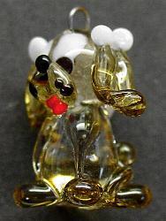 Best.Nr.:34081 handgefertigter Glasanhänger mit Öse Hündchen