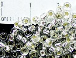 Best.Nr.:11002 Rocailles aus Gablonz / Böhmen kristall mit Silbereinzug