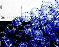 Best.Nr.:13027 Rocailles aus Gablonz / Böhmen  kristall blau gestreift