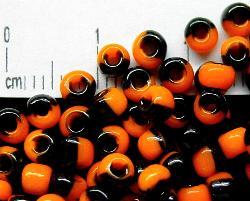 Best.Nr.:13026 Rocailles von Ornella Preciosa Tschechien, orange schwarz gestreift