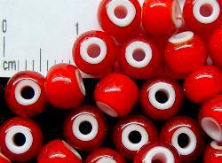 Best.Nr.:17015 Rocailles rot mit weißen Kern