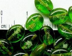 Best.Nr.:46042 Glasperlen hergestellt in Gablonz / Tschechien,  Olive flach, grün mit picasso finish