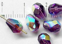 Best.Nr.:28206 facettierte Glasperlen Tropfen  violett mit AB