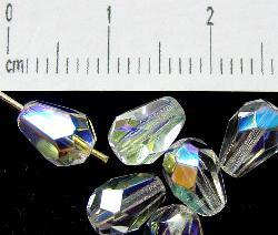 Best.Nr.:28207 facettierte Glasperlen  Tropfen kristall mit AB, hergestellt in Gablonz / Tschechien