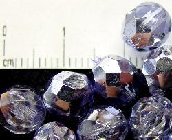 Best.Nr.:24062 facettierte Glasperlen mit Silber-Veredelung und Wachsüberzug