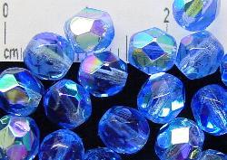 Best.Nr.:28211 facettierte Glasperlen  aqua mit AB, hergestellt in Gablonz / Tschechien,