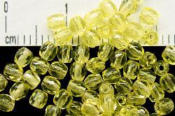 Best.Nr.:27181 facettierte Glasperlen  gelb transp, Uranglas hergestellt in Gablonz / Tschechien