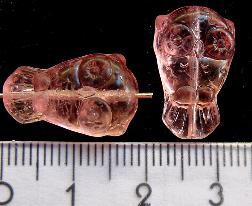 Best.Nr.:51007 Glasperlen  Eule rosa transparent Vorder-und Rückseite geprägt