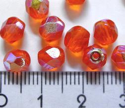 Best.Nr.:28016 facettierte Glasperlen orange transp./eine Seite mit metallic Veredelung