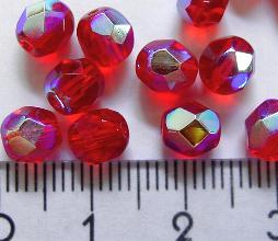 Best.Nr.:28015 facettierte Glasperlen rot transp./eine Seite mit metallic Veredelung