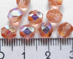 Best.Nr.:28014 facettierte Glasperlen rose transp./eine Seite mit metallic Veredelung