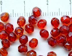 Best.Nr.:23017 facettierte Glasperlen rot mit lüster