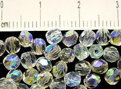 Best.Nr.:28071 facettierte Glasperlen kristall mit AB, hergestellt in Gablonz / Tschechien