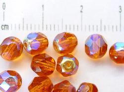 Best.Nr.:28021 facettierte Glasperlen honiggelb transp./eine Seite mit metallic Veredelung