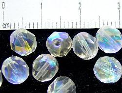 Best.Nr.:28031 facettierte Glasperlen, kristall mit AB, hergestellt in Gablonz / Tschechien