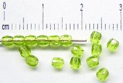 Best.Nr.:27086 facettierte Glasperlen olivgrün hell transp., hergestellt in Gablonz / Tschechien