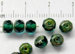 Best.Nr.:27162 Linse smaragdgrün mit facettiertem Rand und picasso finish
