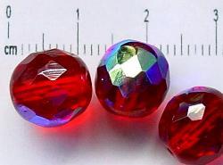 Best.Nr.:28089 facettierte Glasperlen rot eine Seite mit AB