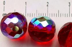 Best.Nr.:28088 facettierte Glasperlen granatrot eine Seite mit AB