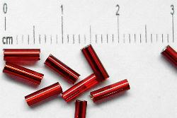 Best.Nr.:21031 Stiftperlen hergestellt von Preciosa Ornella Tschechien,  rot mit Silbereinzug