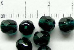 Best.Nr.:27119 facettierte Glasperlen smaragdgrün transp.,  hergestellt in Gablonz / Tschechien