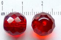 Best.Nr.:27091 facettierte Glasperlen rot transp., hergestellt in Gablonz / Tschechien
