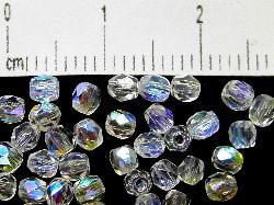 Best.Nr.:28081 facettierte Glasperlen kristall mit AB, hergestellt in Gablonz / Tschechien