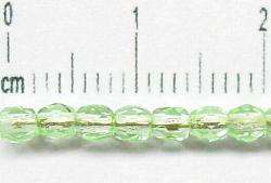 Best.Nr.:27185 facettierte Glasperlen hellgrün transp.,  hergestellt in Gablonz Tschechien