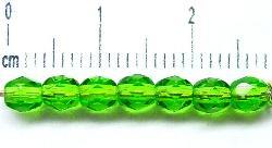 Best.Nr.:27173 facettierte Glasperlen grün transp.,  hergestellt in Gablonz / Tschechien