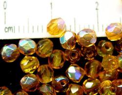 Best.Nr.:28114 facettierte Glasperlen topas transp. mit AB, hergestellt in Gablonz / Tschechien