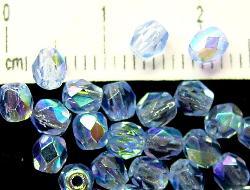 Best.Nr.:28116 facettierte Glasperlen aqua transp. mit AB, hergestellt in Gablonz / Tschechien