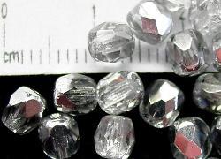 Best.Nr.:28106 facettierte Glasperlen kristall/eine Seite mit silber Veredelung