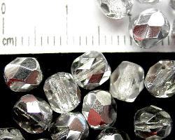 Best.Nr.:28077 facettierte Glasperlen kristall/eine Seite mit silber Veredelung