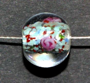 Best.Nr.:45030 hochwertige Lampenperle handgefertigt in einer kleinen Manufaktur in Gablonz /Böhmen mit eingearbeiteter Silberfolie